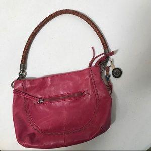 The Sak magenta pink leather boho purse